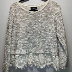 INC Peplum Sweater with Crochet Bottom